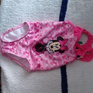 BABY GIRLS Minnie Mouse Disney PINK SWIMWEAR TOGS Sz 6m 12m 18m or 24m BATHERS